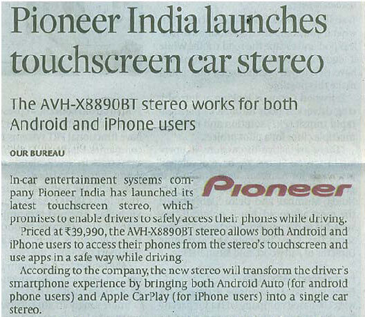 Pioneer India launches touchscreen car stereo